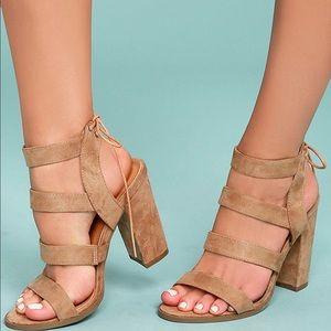 Lulu's Sydney Beige Suede High Heel Sandals